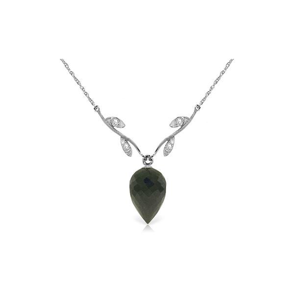 Genuine 12.27 ctw Black Spinel & Diamond Necklace 14KT White Gold - REF-35Y2F