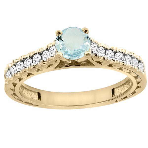 0.72 CTW Aquamarine & Diamond Ring 14K Yellow Gold - REF-63N5Y
