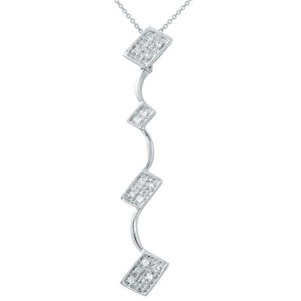 Natural 0.10 CTW Diamond Necklace 14K White Gold - REF-35T3X