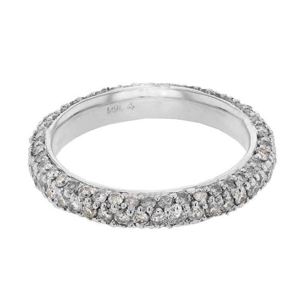 Natural 1.50 CTW Diamond Band Ring 14K White Gold - REF-110T7X