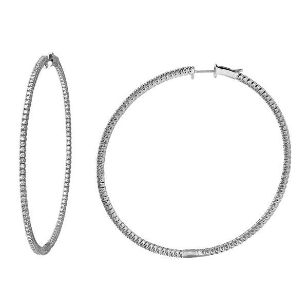 1.65 CTW White Round Diamond Hoop Earring 14K White Gold - REF-209K3M