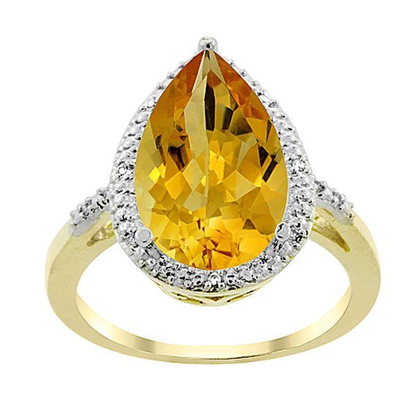 5.55 CTW Citrine & Diamond Ring 10K Yellow Gold - REF-34Y8V