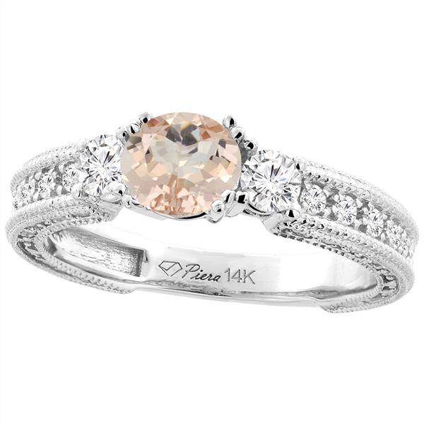 1.25 CTW Morganite & Diamond Ring 14K White Gold - REF-88K3W
