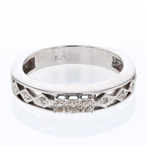 Natural 0.19 CTW Diamond Band Ring W=4MM 14K Gold - REF-40K5R