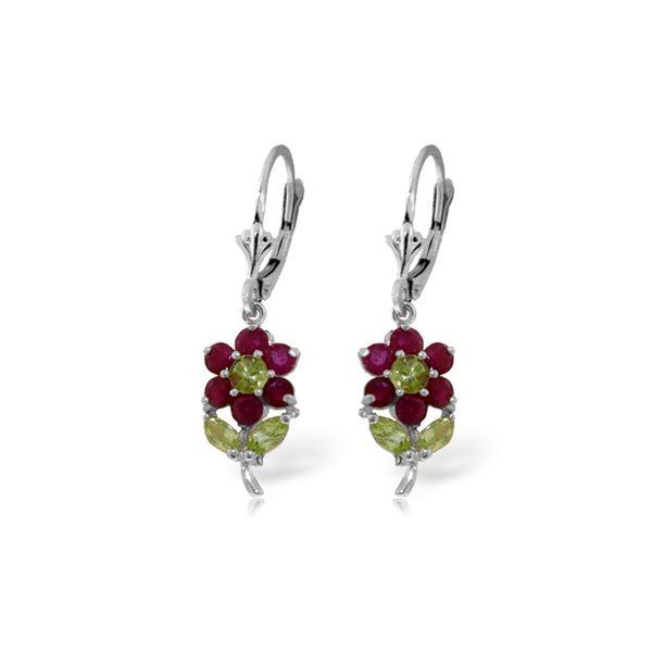 Genuine 2.12 ctw Peridot & Ruby Earrings 14KT White Gold - REF-46X2M