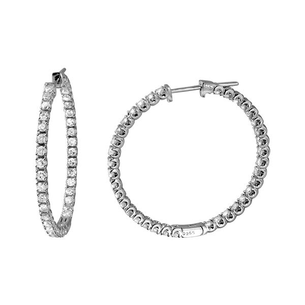 2.65 CTW White Round Diamond Hoop  Earring 14K White Gold - REF-263N6A