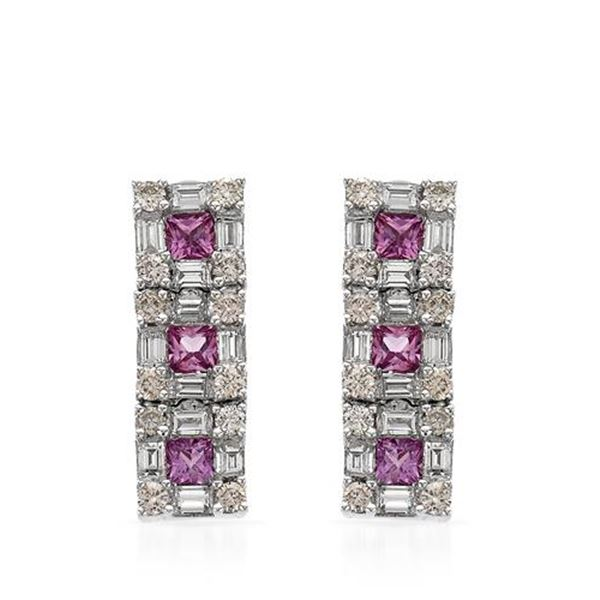Natural 3.43 CTW Pink Sapphire & Baguette Earring 14K White Gold - REF-234F2M