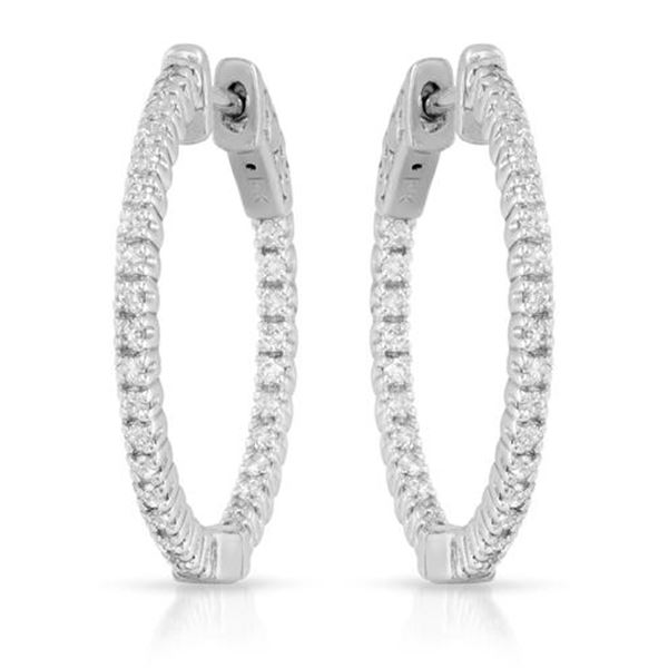Natural 0.77 CTW Diamond Earrings 14K White Gold - REF-124F2M