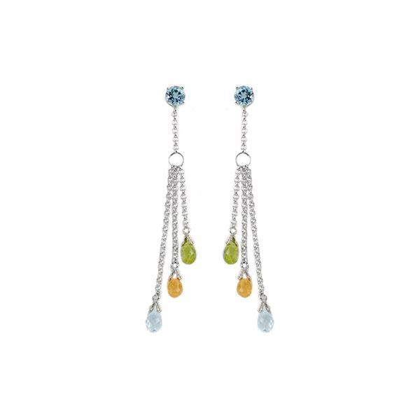 Genuine 5.75 ctw Blue Topaz Earrings 14KT White Gold - REF-45Z2N