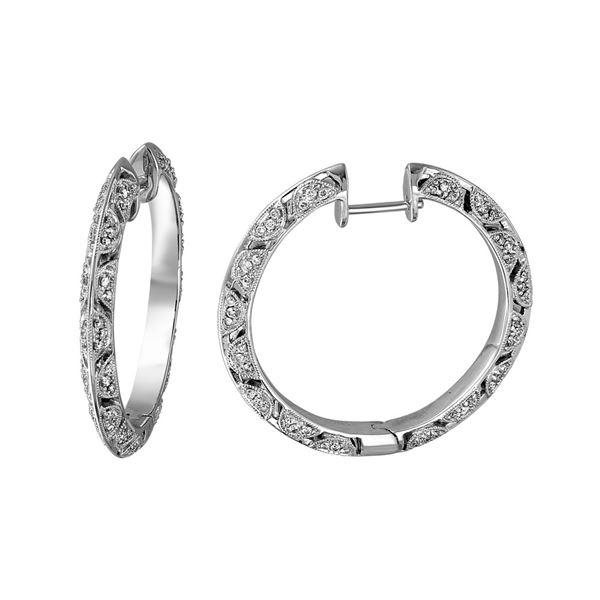 Natural 0.90 CTW Diamond Earrings 14K White Gold - REF-140K4R
