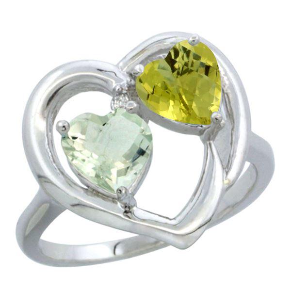 2.61 CTW Diamond, Amethyst & Lemon Quartz Ring 10K White Gold - REF-23W5F