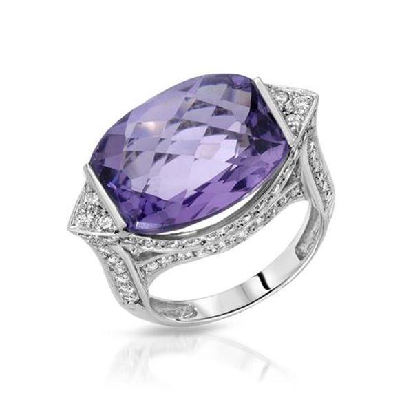 Natural 12.27 CTW Amethyst & Diamond Ring 18K White Gold - REF-142F2M