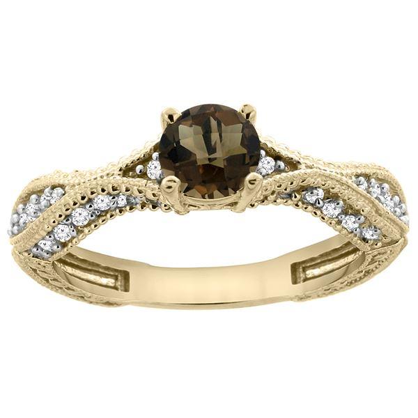 0.81 CTW Quartz & Diamond Ring 14K Yellow Gold - REF-67K8W