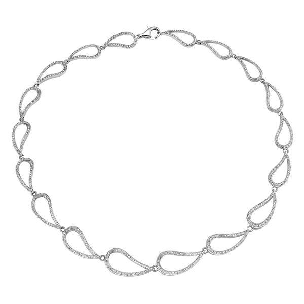 Natural 3.43 CTW Diamond Necklace 18K White Gold - REF-515T7X