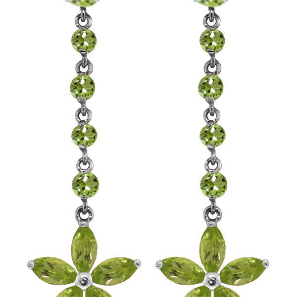 Genuine 4.8 ctw Peridot Earrings 14KT White Gold - REF-56T8A