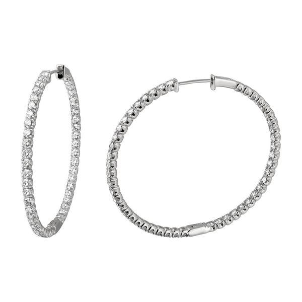 6.41 CTW White Round Diamond Hoop  Earring 14K White Gold - REF-600K2M