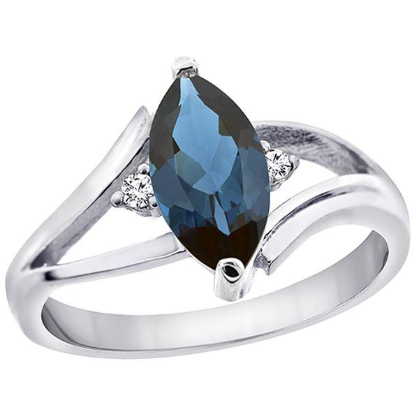 1.24 CTW London Blue Topaz & Diamond Ring 14K White Gold - REF-31H4M