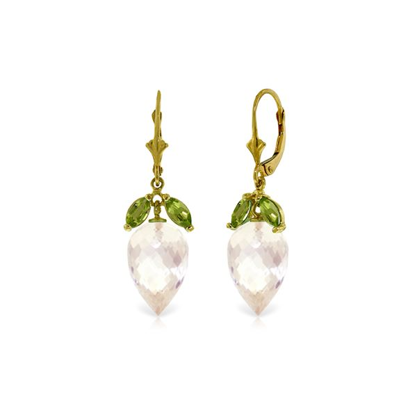 Genuine 25.5 ctw White Topaz & Peridot Earrings 14KT Yellow Gold - REF-63N8R