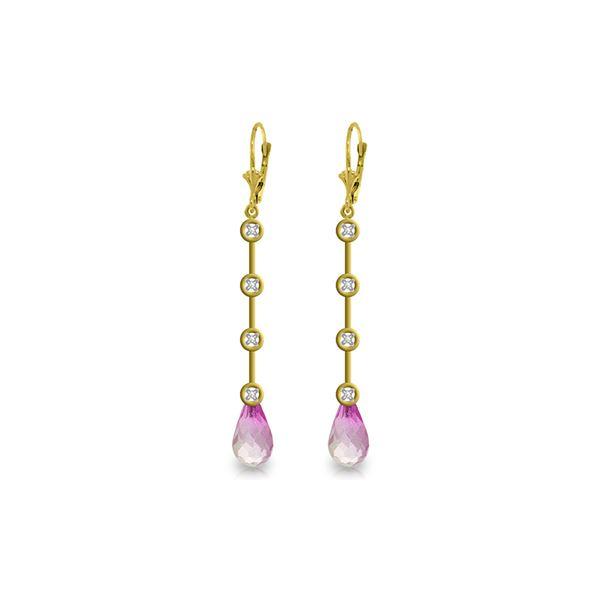 Genuine 6.12 ctw Pink Topaz & Diamond Earrings 14KT Yellow Gold - REF-52V9W