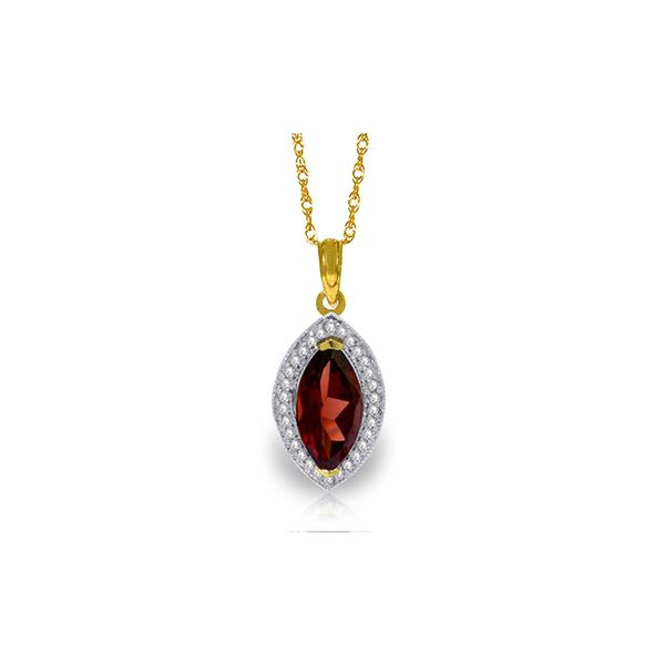 Genuine 2.15 ctw Garnet & Diamond Necklace 14KT Yellow Gold - REF-62A3K