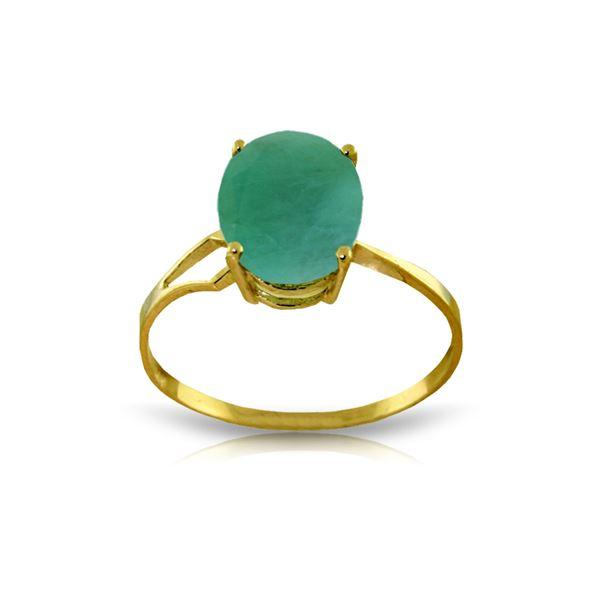 Genuine 2.9 ctw Emerald Ring 14KT Yellow Gold - REF-44V3W