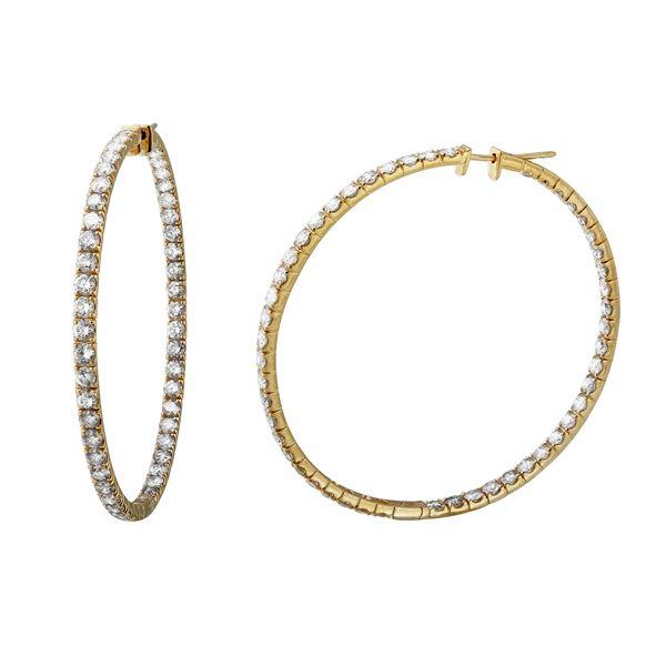 8.4 CTW White Round Diamond Hoop  Earring 14K Yellow Gold - REF-881N8A