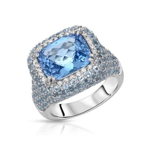 Natural 9.61 CTW Topaz & Diamond Ring 14K White Gold - REF-125T3X