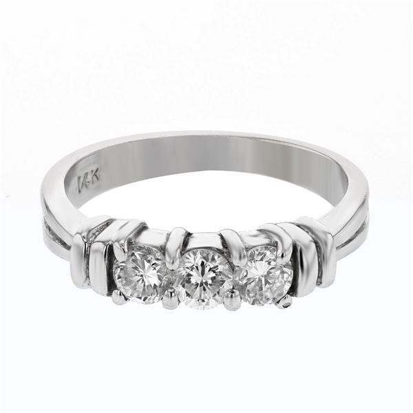 Natural 0.59 CTW Diamond Ring 14K White Gold - REF-69N3Y