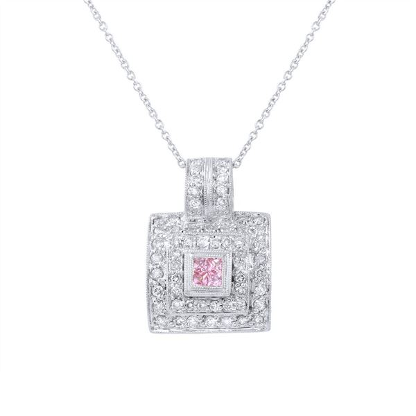 Natural 0.67 CTW Pink Sapphire & Diamond Necklace 18K White Gold - REF-82F8M
