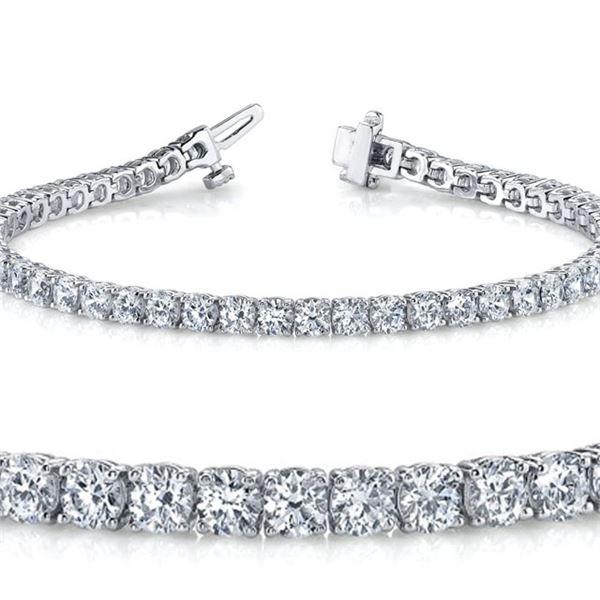Natural 4.04ct VS2-SI1 Diamond Tennis Bracelet 14K White Gold - REF-300R5W