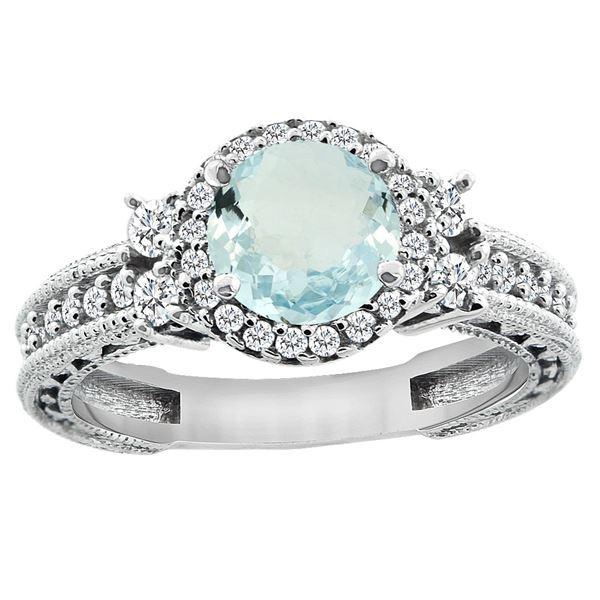 1.46 CTW Aquamarine & Diamond Ring 14K White Gold - REF-76K9W
