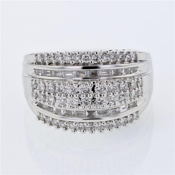 Natural 0.94 CTW Diamond & Baguette Ring 18K White Gold - REF-180T9X