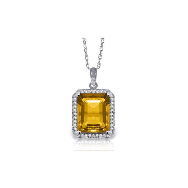 Genuine 5.4 ctw Citrine & Diamond Necklace 14KT White Gold - REF-70R5P