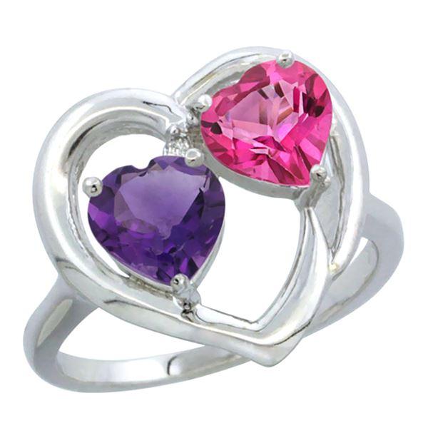 2.61 CTW Diamond, Amethyst & London Blue Topaz Ring 14K White Gold - REF-33X9M