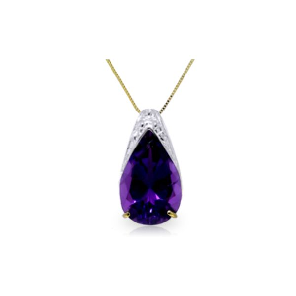 Genuine 5 ctw Amethyst Necklace 14KT Yellow Gold - REF-27T2A