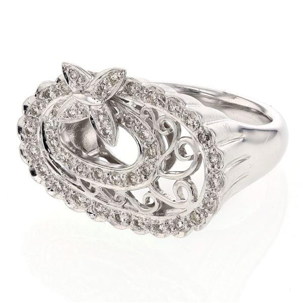 Natural 0.45 CTW Diamond Ring 14K White Gold - REF-116F3M
