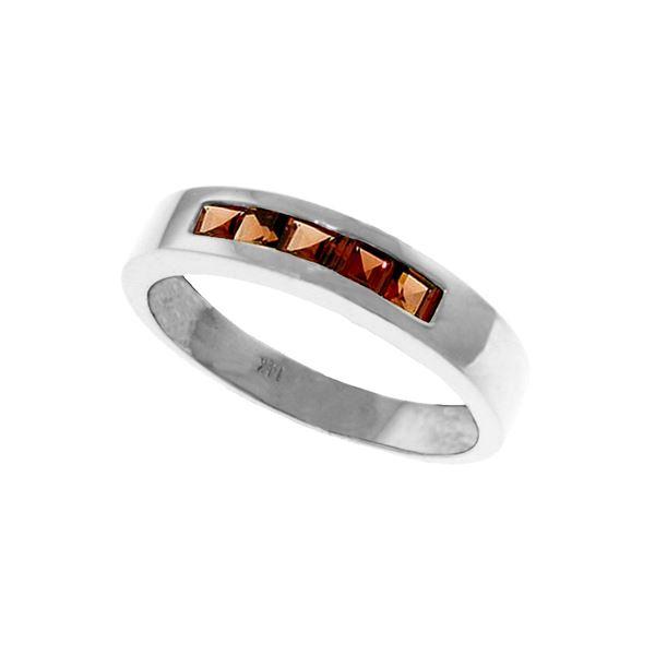 Genuine 0.60 ctw Garnet Ring 14KT White Gold - REF-46Z2N
