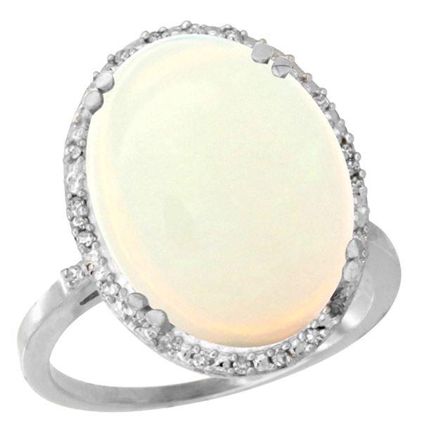 10.35 CTW Opal & Diamond Ring 14K White Gold - REF-103X6M