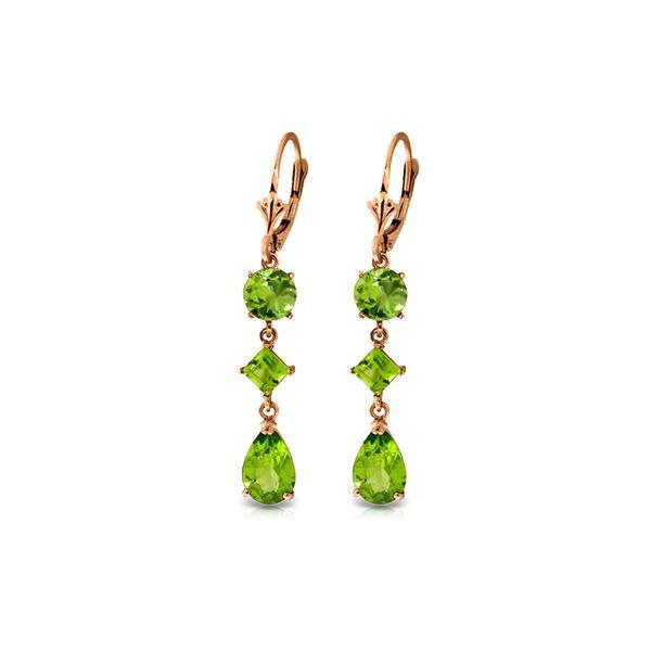 Genuine 6.3 ctw Peridot Earrings 14KT Rose Gold - REF-52A2K