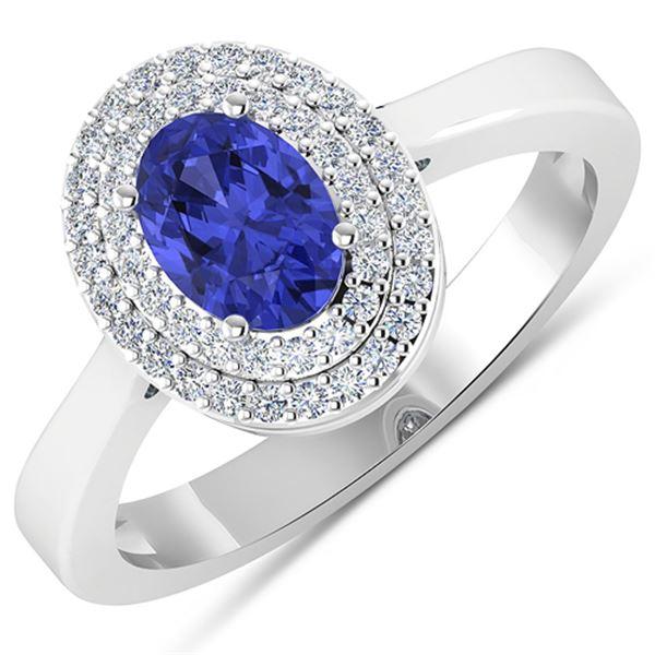 Natural 0.91 CTW Tanzanite & Diamond Ring 14K White Gold - REF-35R9F