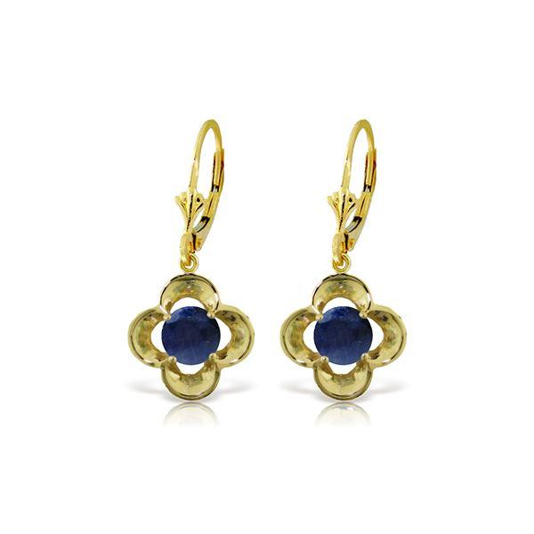 Genuine 1.10 ctw Sapphire Earrings 14KT Yellow Gold - REF-41V4W