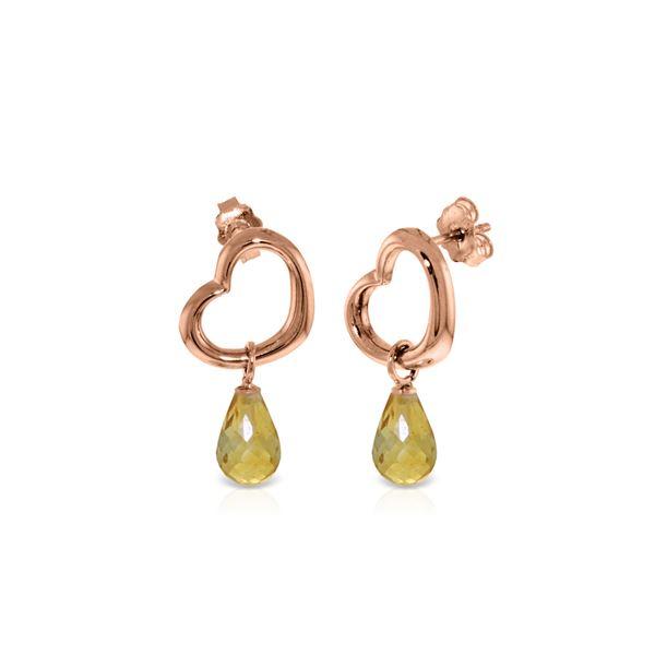 Genuine 4.5 ctw Citrine Earrings 14KT Rose Gold - REF-42F6Z