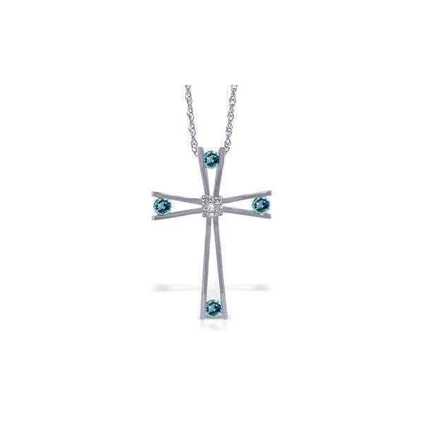 Genuine 0.43 ctw Blue Topaz & Diamond Necklace 14KT White Gold - REF-76W7Y