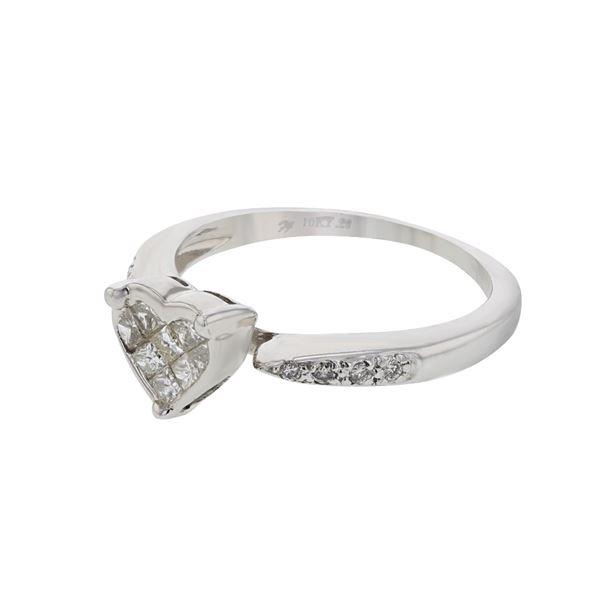 Natural 0.30 CTW Diamond & Princess Diamond Ring 10K White Gold - REF-45W9H