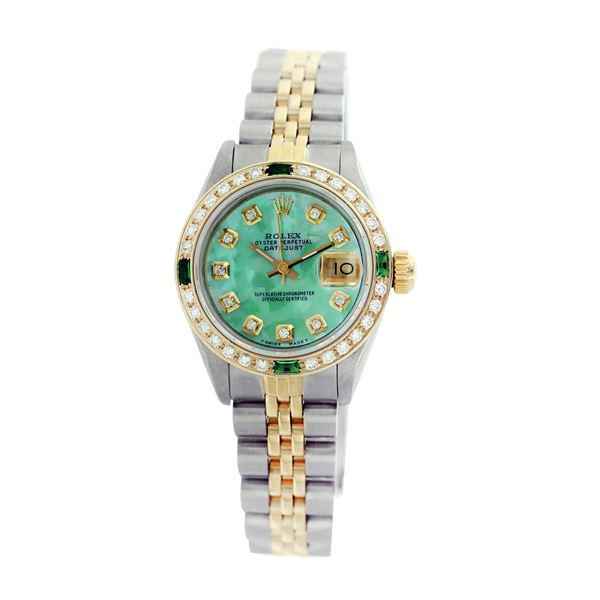 Rolex Pre-owned 26mm Womens Custom Green MOP Two Tone