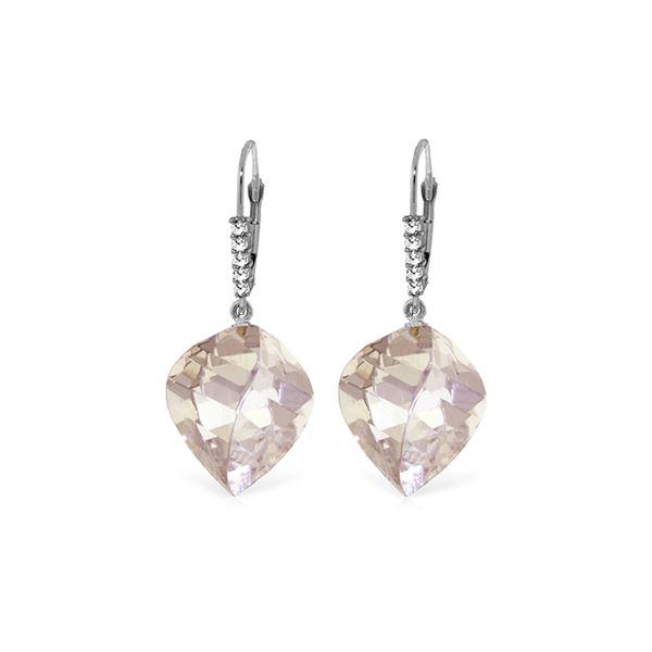 Genuine 25.75 ctw White Topaz & Diamond Earrings 14KT White Gold - REF-61F2Z