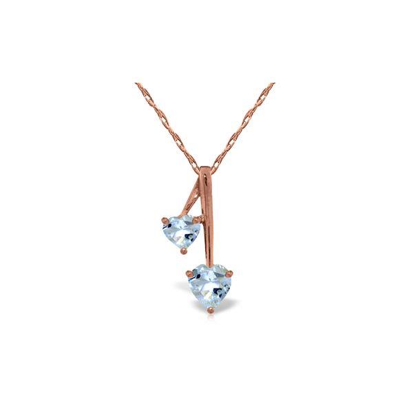 Genuine 1.40 ctw Aquamarine Necklace 14KT Rose Gold - REF-27A8K