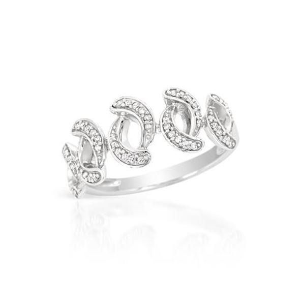 Natural 0.19 CTW Diamond Ring 14K White Gold - REF-32K4R
