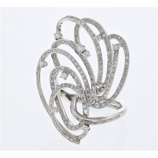 Natural 1.78 CTW Diamond Ring 18K White Gold - REF-314K3R