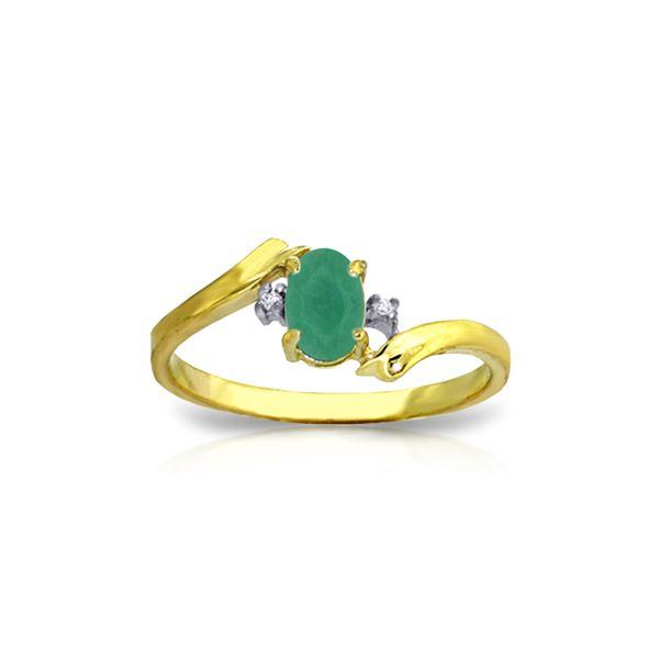 Genuine 0.51 ctw Emerald & Diamond Ring 14KT Yellow Gold - REF-32M2T